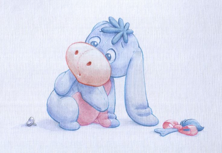 Eeyore When He Was A Baby | Baby Eeyore watercolour by ~ShaneMadeArt on deviantART