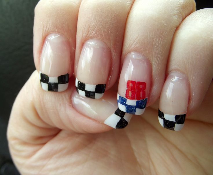 NASCAR Dale Jr. 88 Nail Art. Not bad for doing it on myself! - Best 25+ Nascar Nails Ideas On Pinterest Racing Nails, Checkered