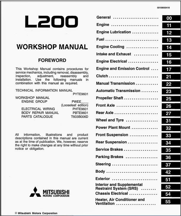 Mitsubishi L200 PDF Service, Workshop and Repair manuals