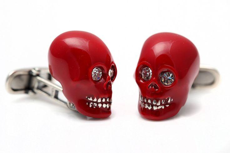 Sterling Silver Enamelled Red Skull Cufflinks by StartJewellery on Etsy