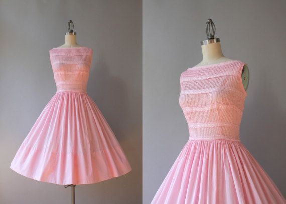 Vintage 50s Dress / 1950s Pale Pink Pin Tuck Dress by HolliePoint