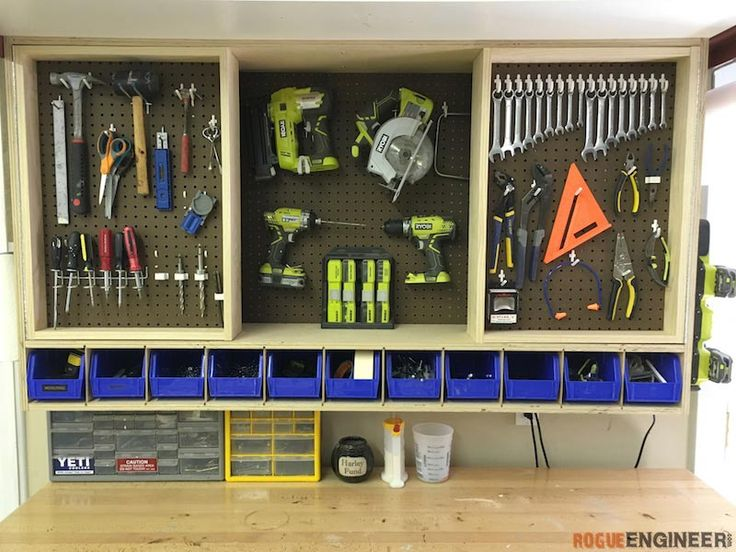 Free and easy DIY project plans showing you exactly how to build a wall cabinet that uses pegboard to store tools.