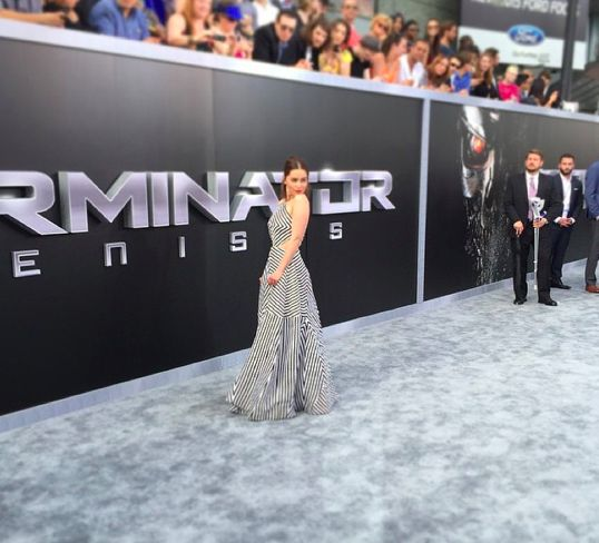 """Emilia Clarke looks absolutely gorgeous as she graces the red carpet for the """"Terminator Genisys"""" premiere #PPLA #PressPassLA #GetWhatMatters"""