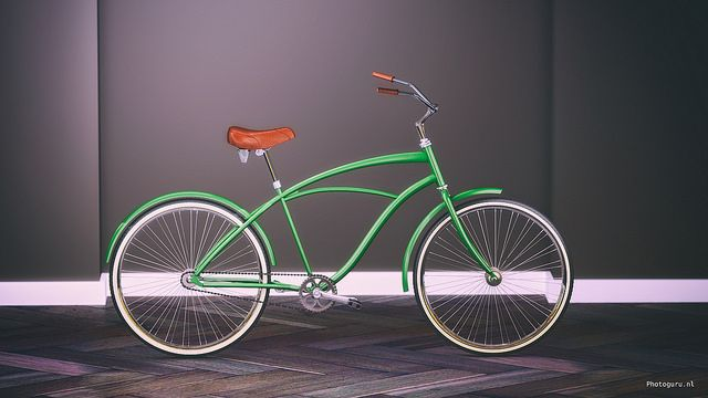 Trendy fiets ontworpen in 3dss max.