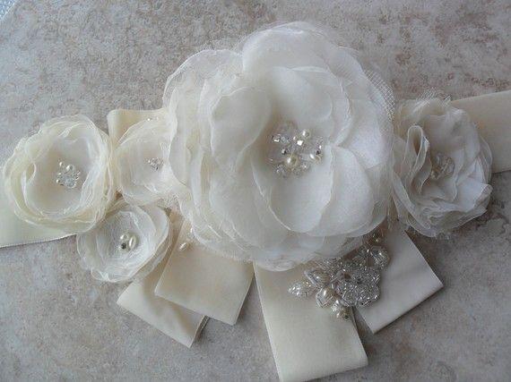 Enzoani inspired organza floral bridal sash /belt. $138.00, via Etsy.