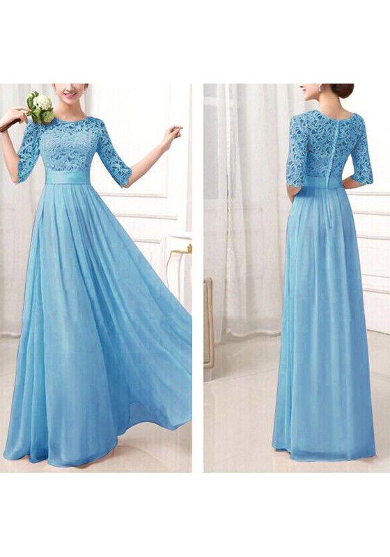 Light Blue Patchwork Hollow-out Lace Double-deck Fashion Maxi Dress