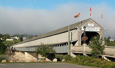 The longest covered bridge in the world (1282 feet), St. John River, Saint John River, Hartland, New Brunswick.