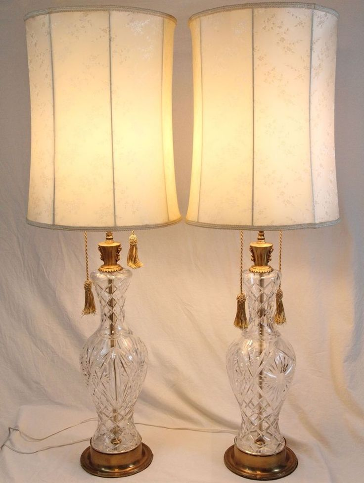 Tall cut glass vase table lamps pair vintage silk shades hollywood regency