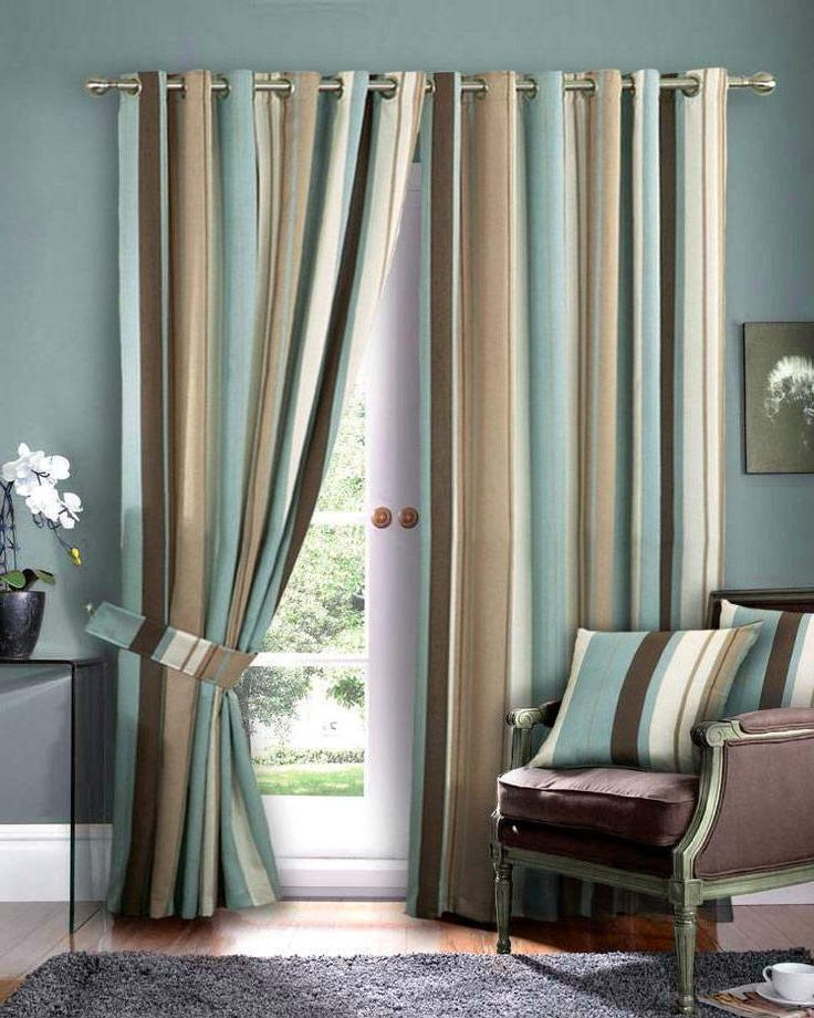 Need These For My Living Room. Blue And Brown And Tan Striped Curtains Lr