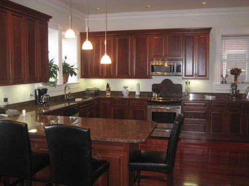 Grey Kitchen Walls With Cherry Cabinets cherry hardwood flooring and grey walls - google search | grey and