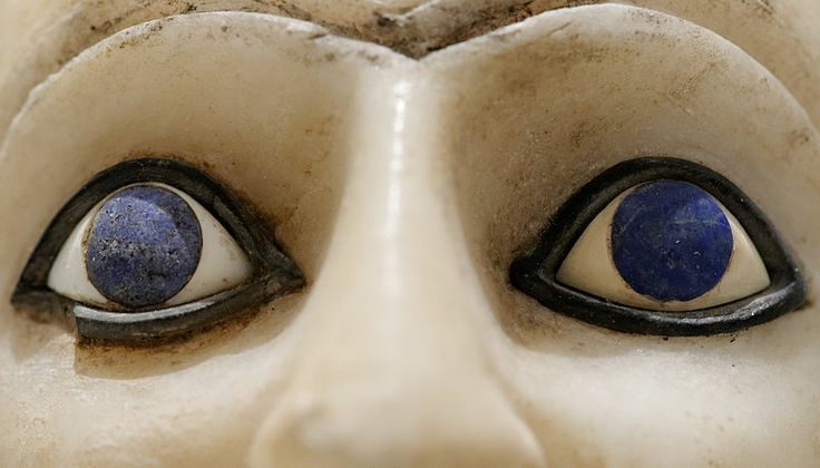 Detail of the eyes, statue of Ebih-Il, intendant, Early Dynastic. Lapis Lazuli Louvre Museum