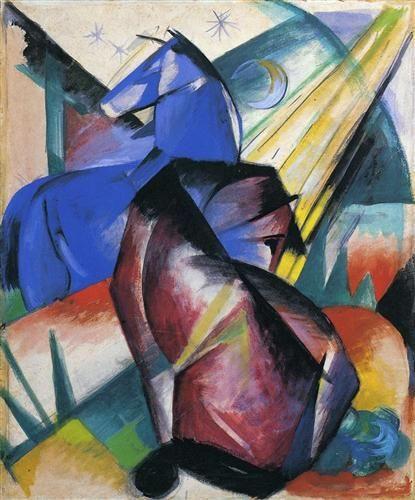 Franz Marc (1880–1916) Der Blaue Reiter is poëtisch en verraadt invloeden van Russische sprookjes en oude volksverhalen. De kunstenaars  werken vanuit hun gevoel, gebruiken veelal felle kleuren en zijn gefascineerd door de natuur en dieren. Dit uit zich bijvoorbeeld in de met liefde weergegeven imposante paarden van Franz Marc die als trots, beeldvullend onderwerp van een schilderij een grote empathie oproepen bij de toeschouwer.