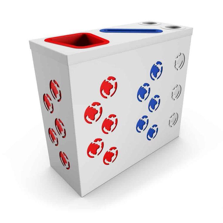 PROMETHEUS OFFICE Blanc poubelle de tri sélectif avec compartiment papier et collecteur gobelets/canettes