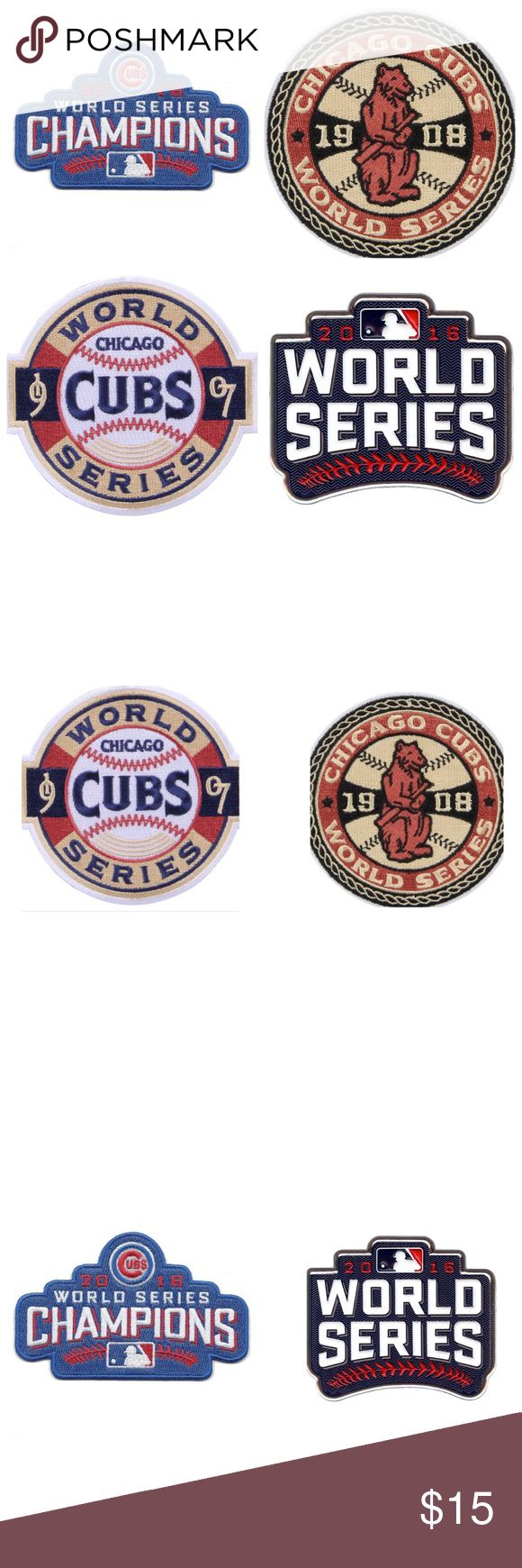 Chicago Cubs World Series Patch Collection (4) Chicago Cubs World Series Patch Collection. This set includes the 2016 World Series patch, the 2016 World Series Champions patch,the 1907 World Series and the 1908 World Series patches. A unique set to add to your collection at a great price. These retail from $10-$20 EACH. Grab them all for $15 shipped. Please check my listings for more Cubs merchandise! Need a Cubs W flag? Get those here too! Accessories