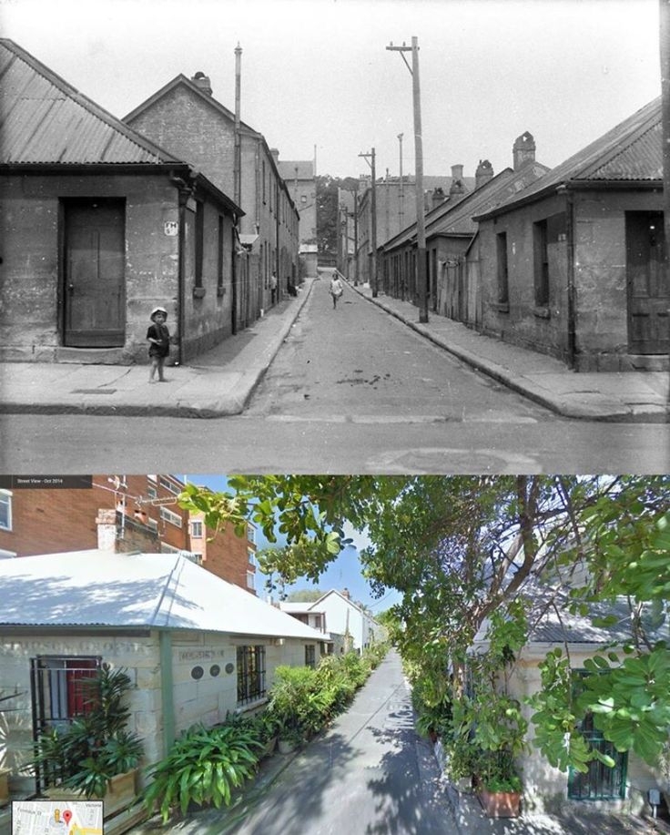 McElhone Place, Surry Hills 1930's > 2014 (Sam Hood- State Lib.NSW > 2014 Google street view. By Kevin Sundgren)
