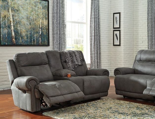 Austere Grey Reclining Series, Sofa, Loveseat And Recliner For Sale