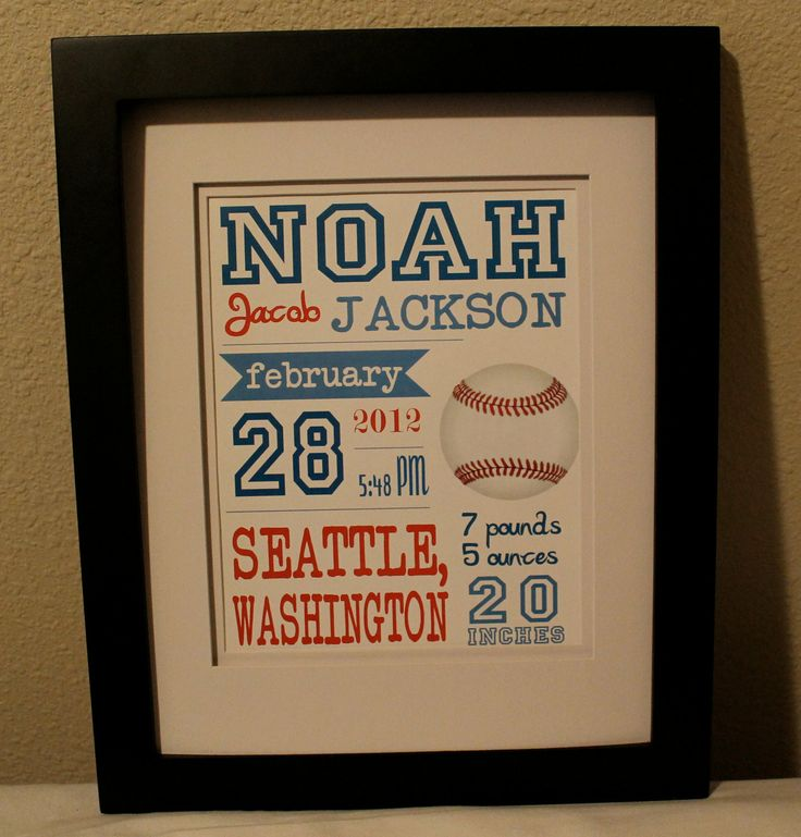 Baseball Themed Nursery Decor: Personalized Baseball Themed Birth Announcement Art Print