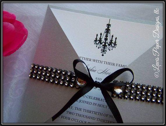 Luxury Silver and Black Wedding Invitation by LewisPaperDesigns, llc #silverwedding #silverandblack #invitations #silverinvitations #formalinvitations