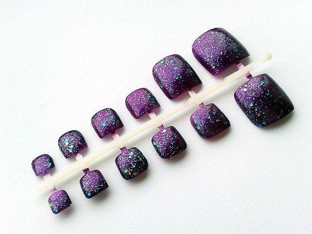 24 Purple Glitter False Toe Nails, Hand Painted Fake Toenails, Artificial Nail Set by NailVirtuoso on Etsy https://www.etsy.com/listing/160493234/24-purple-glitter-false-toe-nails-hand