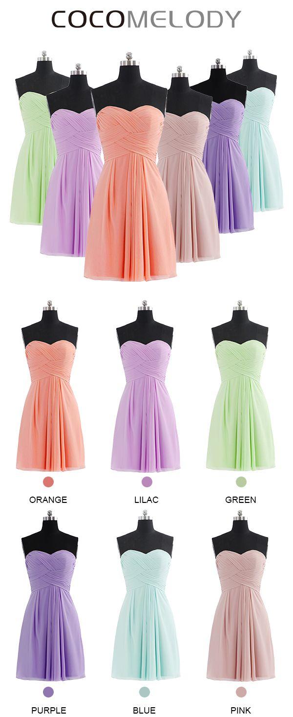 Modern A-Line Sweetheart Chiffon Sleeveless Zipper Bridesmaid Dress COZK14018 #wedding #bridesmaids #bridesmaiddresses #cocomelody #customdresses