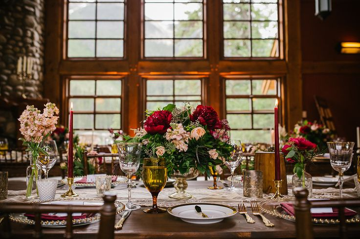 The table centrepieces for this wedding were absolute gorgeous.  It was the perfect compliment to the rustic charm of Emerald Lake Lodge - www.tlawphotography.ca