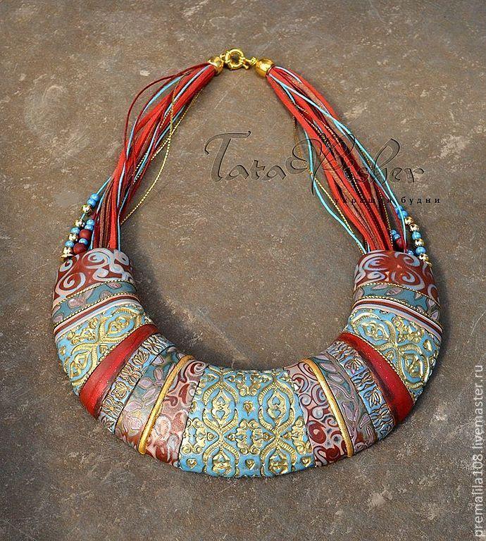 Колье, бусы ручной работы. Ярмарка Мастеров - ручная работа колье-гривна Непал из полимерной глины. Handmade.