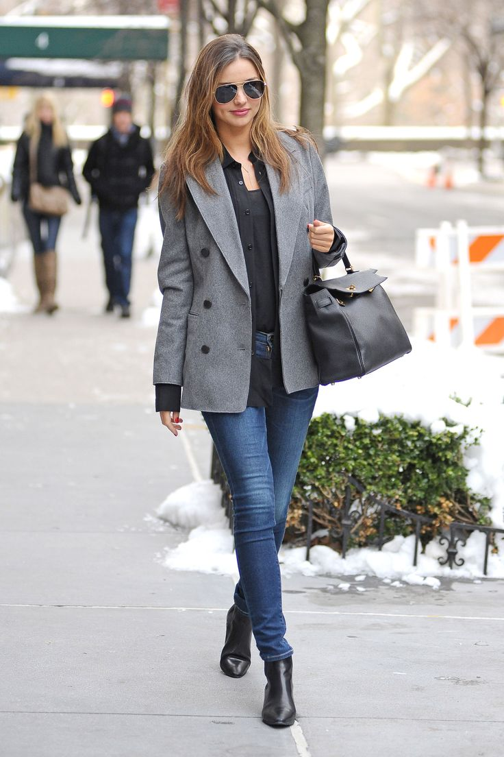 Black ankle boots, Medium Wash skinnies, Black button-down blouse, Gray pea-coat | Black handbag, Black aviator sunnies