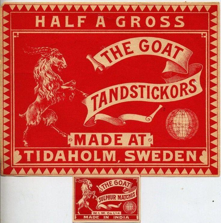 2 OLD VINTAGE MATCHBOX LABELS SWEDISH  THE GOAT