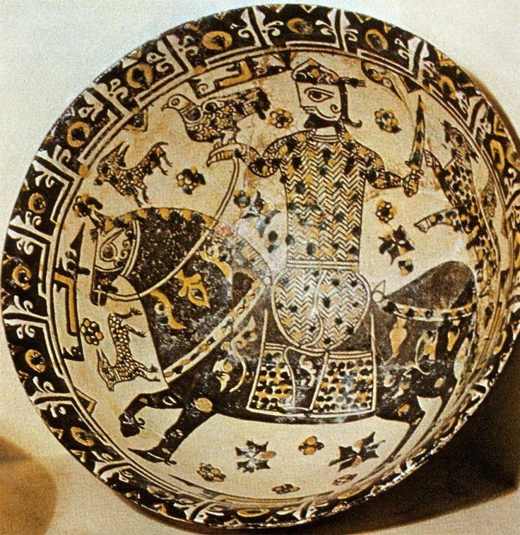 Bowl with horseman, 10th Century, Nishapur, Iran, Furūghī Coll., Tehran