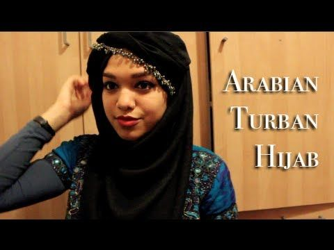 Arabian turban hijab tutorial with neck coverage