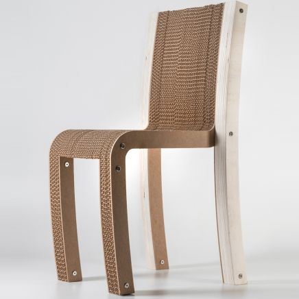 Cardboard Chair Design, Varese Cardboard Chair, Soft Lines Enhance Cardboard Texture, Stackable Chair, With a MDF or Wood Finish (Oak or Teak), Elegant Chair, Made in Italy by Architect Giorgio Caporaso