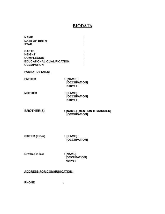 Image result for matrimonial biodata format in word