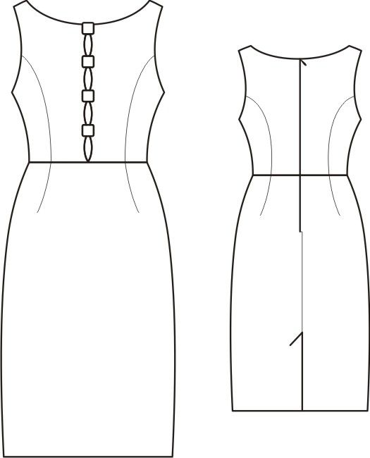 Dress With Buttoned Slit In Front  - Sewing Pattern #S4004 Made-to-measure sewing pattern from Lekala with free online download. Fitted, Princess seams, Waist seam, Buttoned, Zipper closure, Boat neck, No collar, No sleeves, Knee length, Straight skirt, No pockets