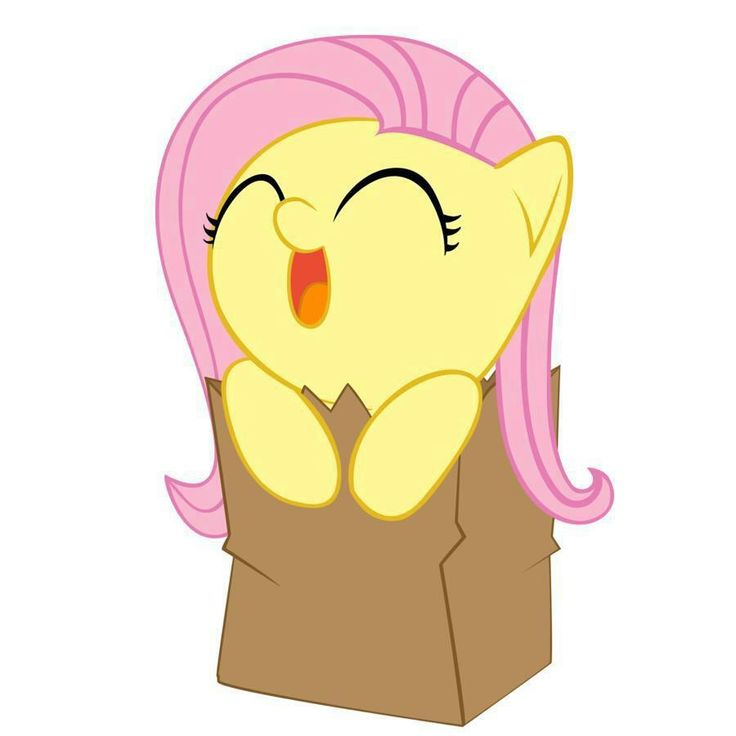 """My Little Pony: Friendship is Magic"" - Fluttershy in a paper bag. I can't even....It's so.....GAAH!!!! <3"