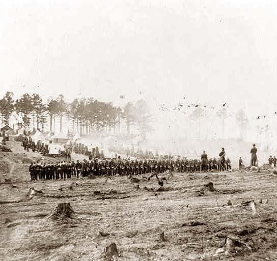Marching into battle, 114th Pennsylvania Infantry, Headquarters, Army of Potomac, Brandy Station, Virginia, April 1864.