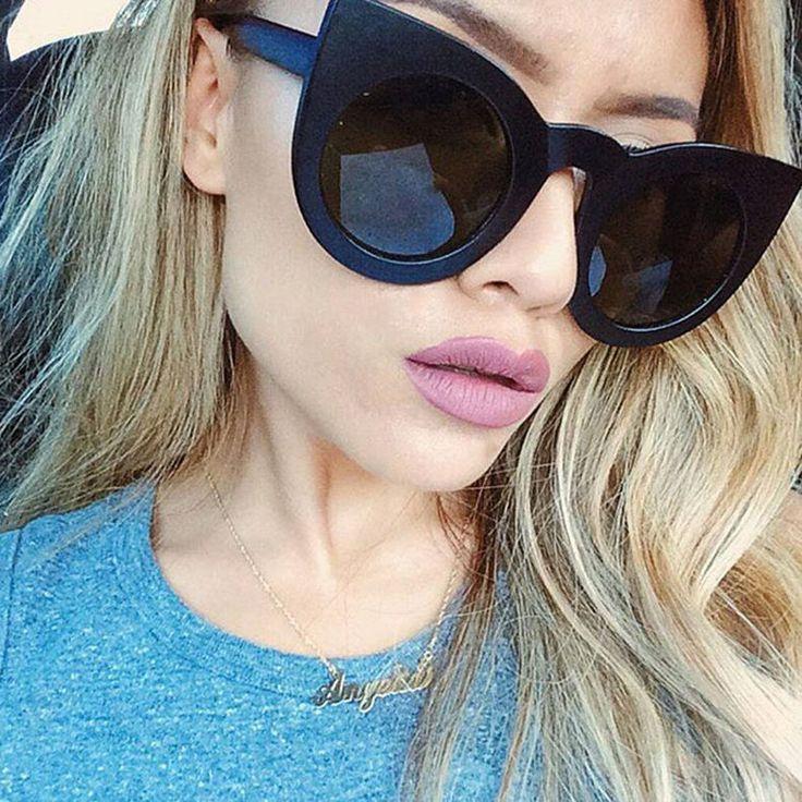 Round Cat Eye Oversized Women Sunglasses Thick Retro Style Frame Fashion Shades
