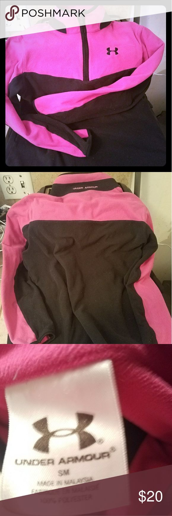 Womans fleece pullover Womans pink and black fleece pullover half zip up size small Under Armour Tops Sweatshirts & Hoodies