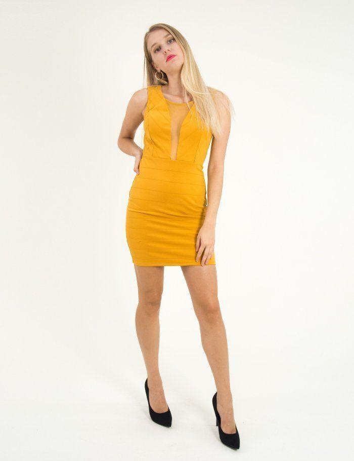 d3745d21d2cb Γυναικεία ώχρα εφαρμοστό φόρεμα με διαφάνεια αμάνικο 2692  τορούχο  torouxo   foremata  φορέματα