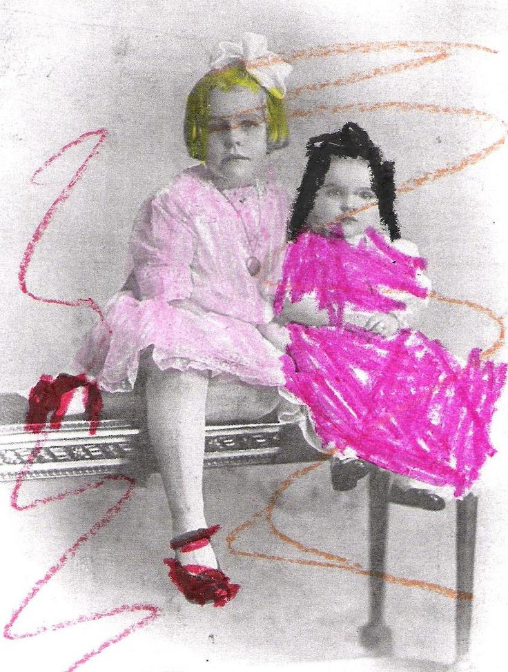 Lovely pink dresses!  Kids add colour to black and white pictures