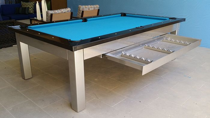 outdoor pool table with drawer