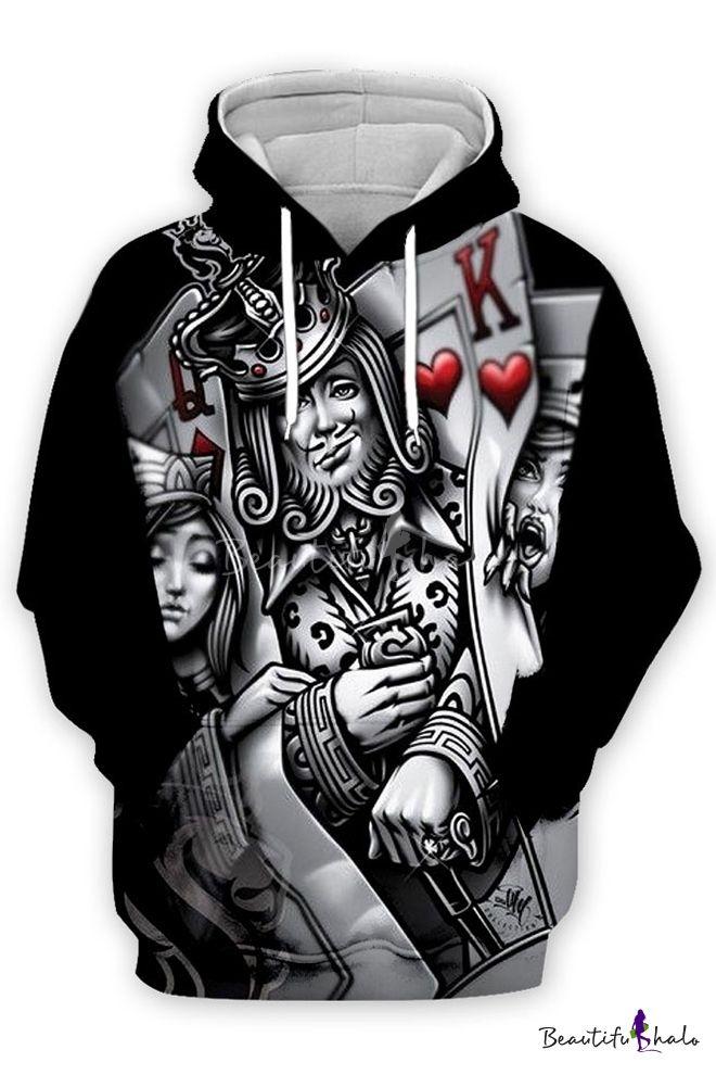 Funny King Queen Poker Card 3d Printed Long Sleeve Casual Unisex Hoodie Hoodies Unisex Hoodies Long Sleeve Casual
