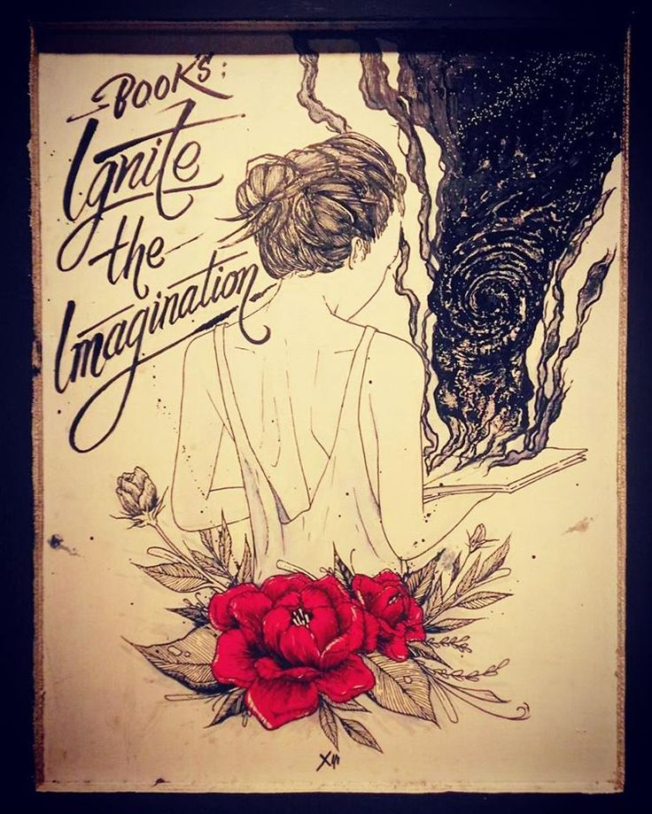 16.06.2016 books ; ignite the imagination  ink on plywood  #drawing #illustration #art #draw #woman #book #quotes #read #sensuality #handwritting #handlettering #space #rose #flower