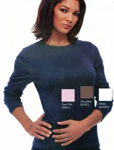 9525 Long Sleeve Tee: Soft and sleek crew neck styling perfect for layering. Rib knit. 100% cotton. XS-2XL.