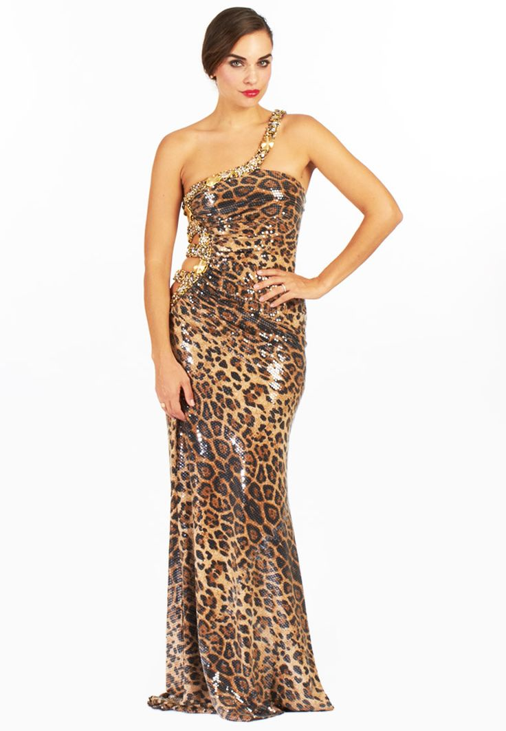 Bella Reve    Animal print evening dress with a patterned cutout back