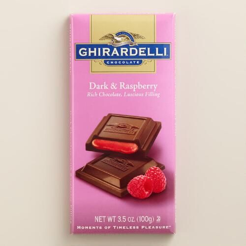 One of my favorite discoveries at WorldMarket.com: Ghirardelli Dark Chocolate Raspberry Filled Bar
