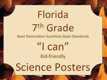 Florida 7th Grade Science Next Generation Sunshine State Standards NGSSS Posters