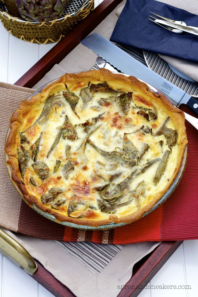 Torta Salata ai Carciofi (Artichoke Quiche) - Lots of good flavors in this quiche.  I've used artichokes before, but this also has anchovies, wine, garlic, onion, olive oil, parsley and different cheeses.