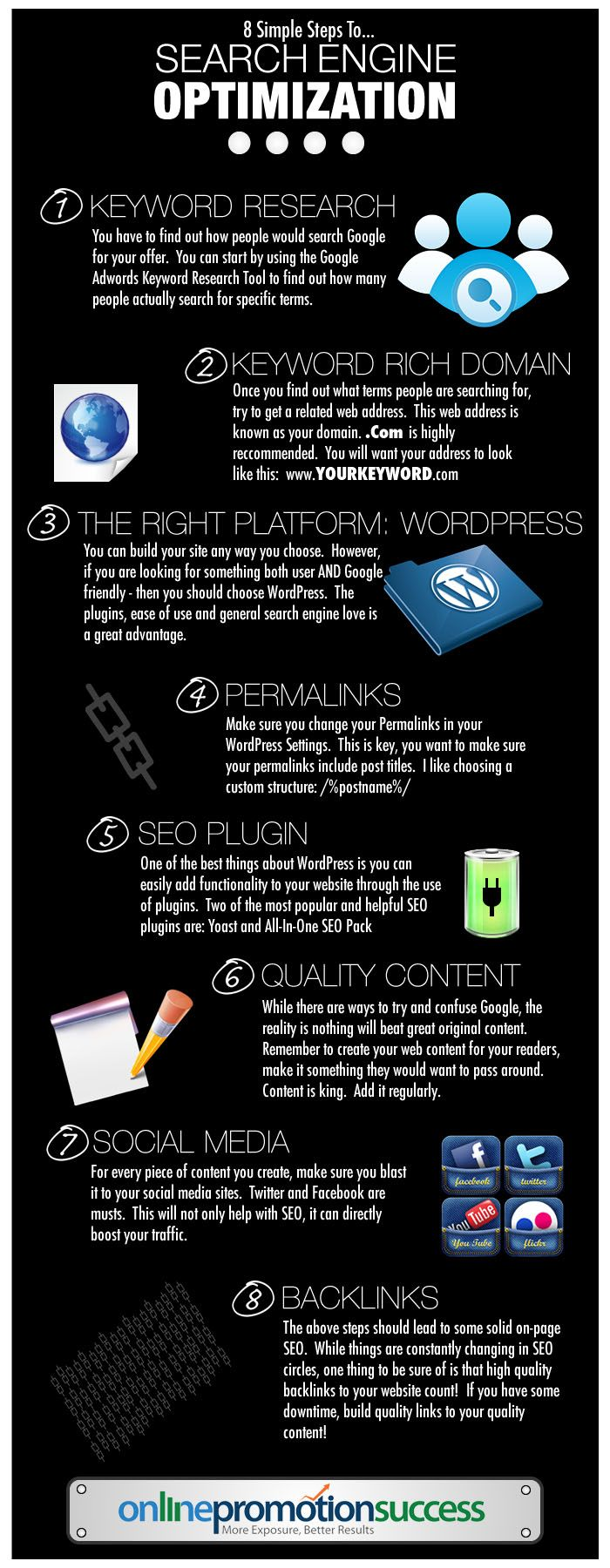 8 steps to SEO [infographic]