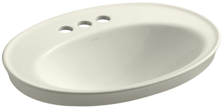 """Kohler K-2075-4 Serif 16-7/8"""" Drop In Bathroom Sink with 3 Holes Drilled and Ove Biscuit Fixture Lavatory Sink Vitreous China"""
