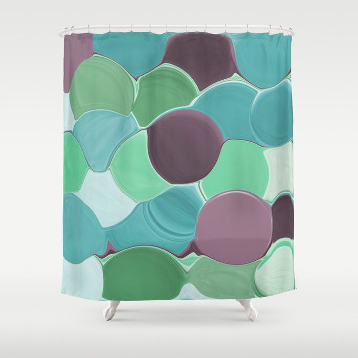 Shower Curtain Teal Turquoise Aqua Mint Purple Plum Green Abstract Art Bathroom Accessories Pattern Home Decor Modern